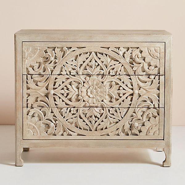 Bohemian carved wood dresser