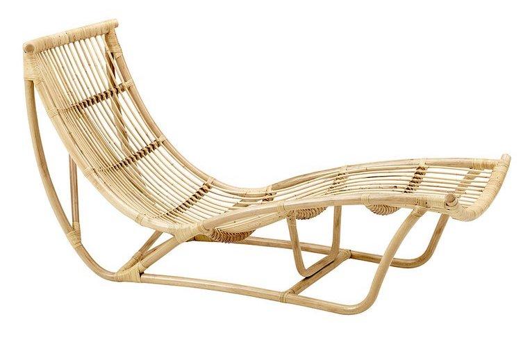 Bohemian rattan chaise lounge
