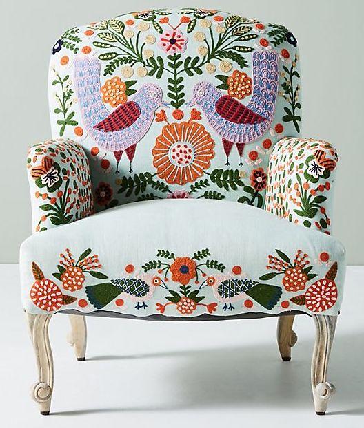 Boho Furniture - Botanical Embroidered Chair