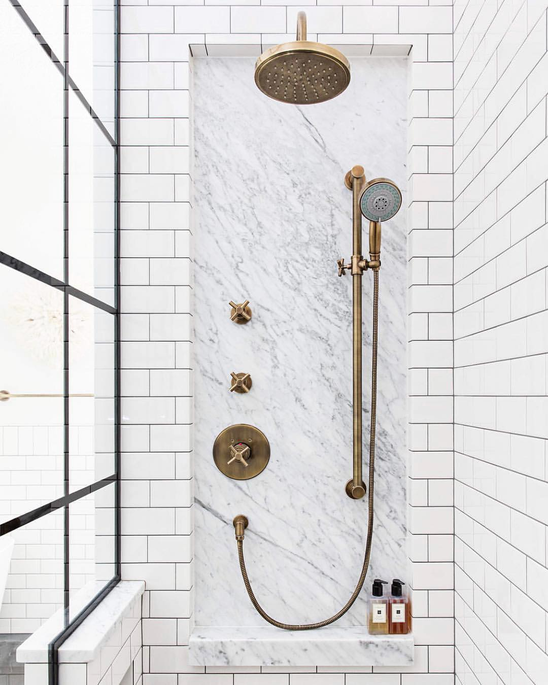 Vintage-style Aged Brass Shower Faucets, Hardware, and Systems