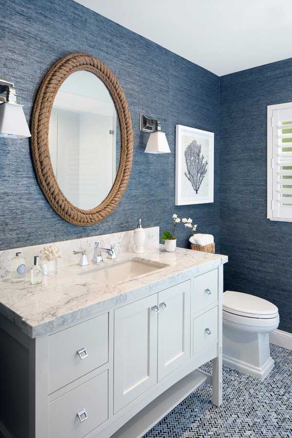 Coastal Mirrors - Oval Rope Mirror in Bathroom via Lisa Michael Interiors