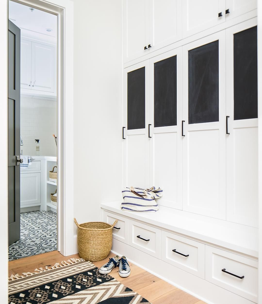 Entryway Mudroom with chalkboard and lockers - @tiffanygharris