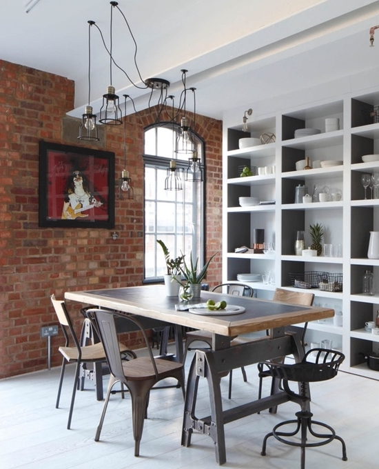 Industrial dining chairs in dining room