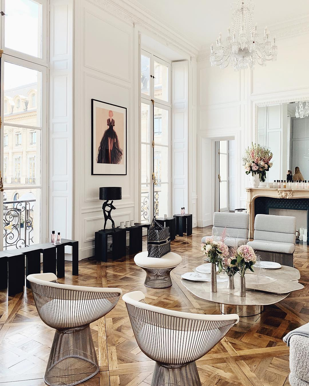 Parisian Accent Chairs - Soleil chairs in traditional Parisian apartment
