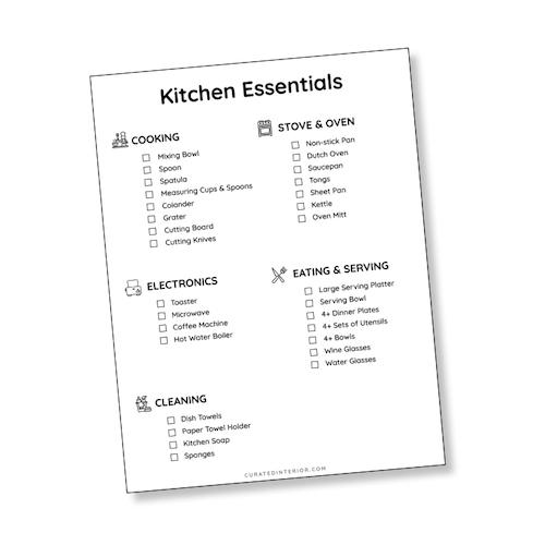 Kitchen Essentials Printable