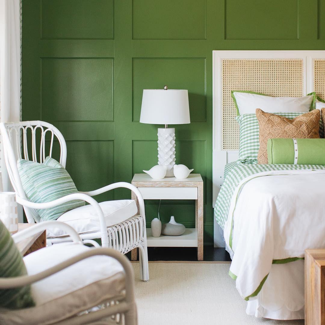 Coastal Bedroom with green walls via @timbertrailshomes