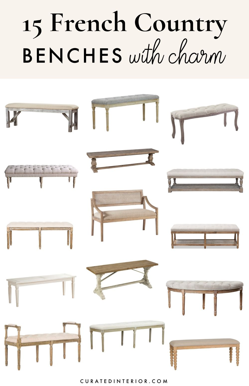 15 French Country Benches with Charm