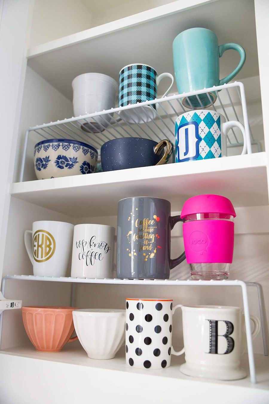 Kitchen Cabinet Helper Shelf for Organizing Coffee Mugs via Brighton The Day