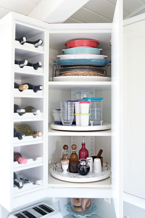 Lazy Susan Corner Kitchen Cabinet Organization via iheartorganizing
