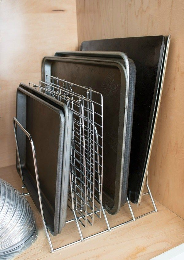 Metal rack to organize and store baking sheets via Driven by Decor