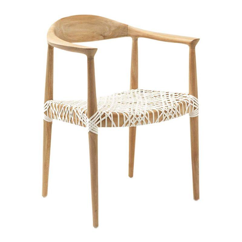Neutral Side Chairs - Light Oak Teak Wood Arm Chair