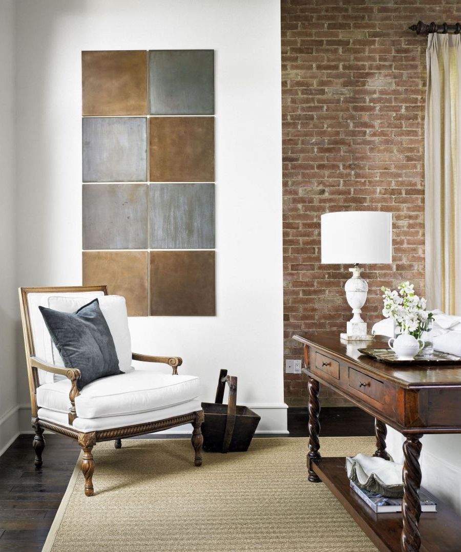 Neutral wall art made from metal squares via Homedit