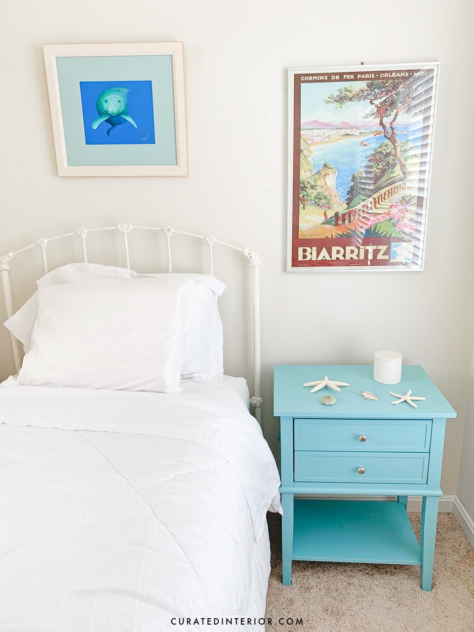 Coastal Bedroom Update - Wayfair Labor Day Sale - Blue coastal nightstand and white comforter and sheet set. Both were SO affordable!