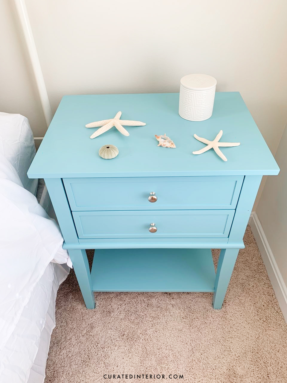 Blue coastal nighstand with two-drawers - Coastal bedroom decor - seashells decor