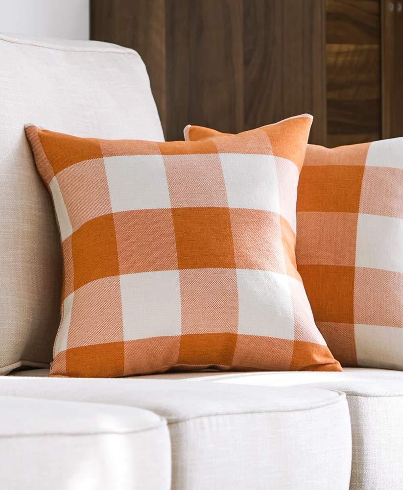 Orange Check Plaid Throw Pillows for Fall