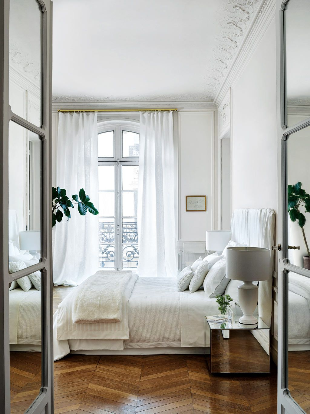 Parisian bedroom with Classic white linens via Zara Home
