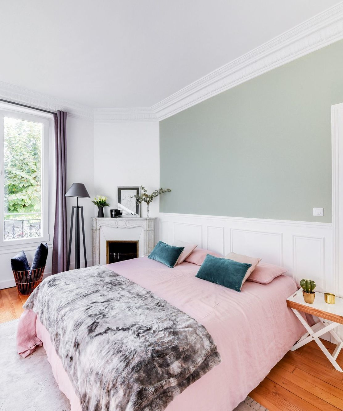 Parisian bedroom with Green accent wall via CoteMaison Isabelle Le Rest Interieurs