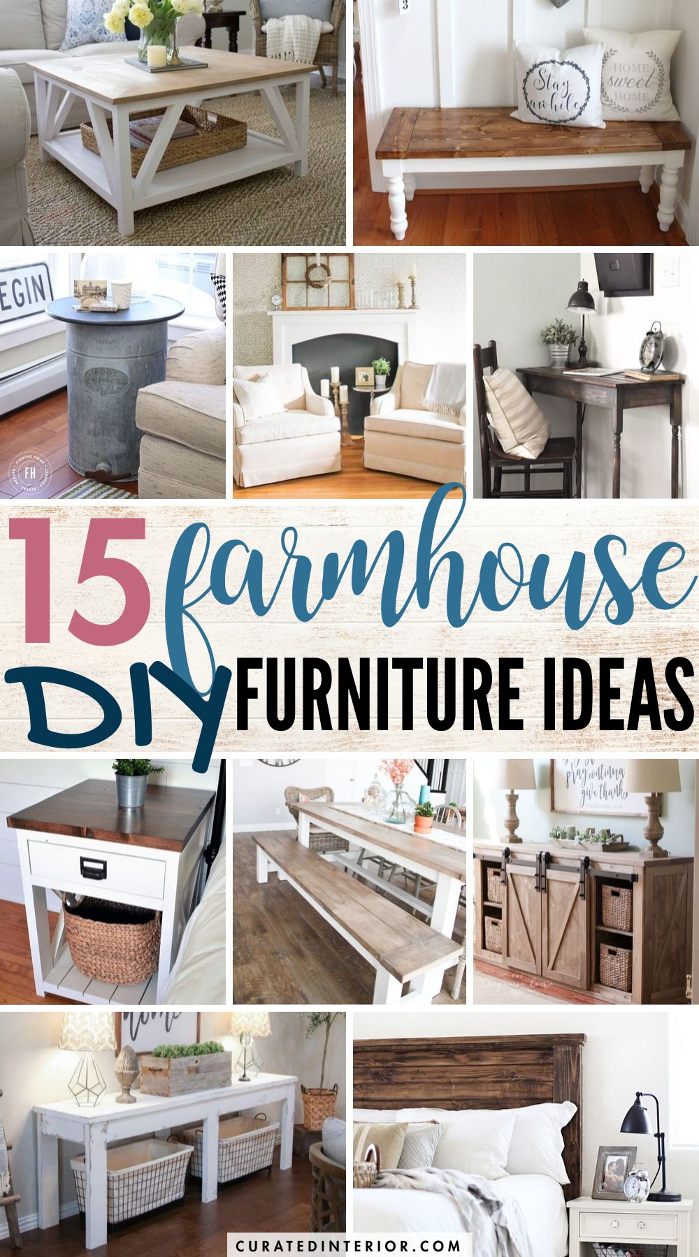 15 Farmhouse DIY Furniture Ideas