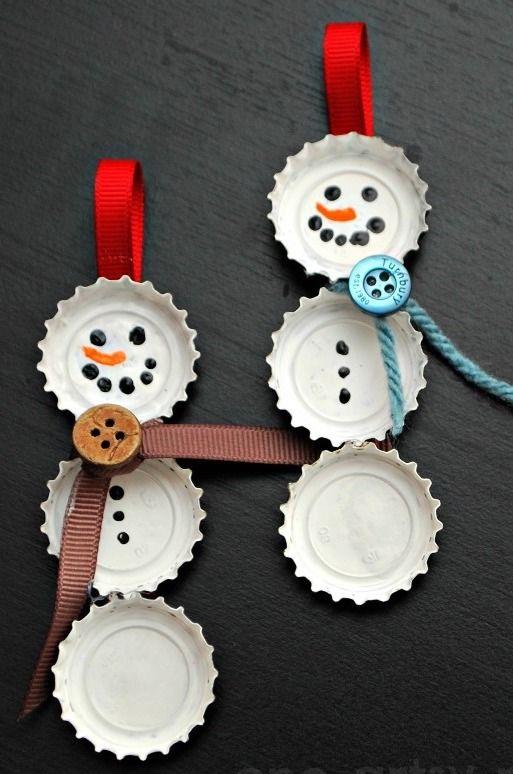 Bottle cap snowmen Christmas Ornament Craft via amylattacreations