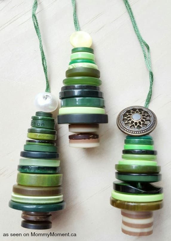 Christmas Tree Button Ornament via mommymoment