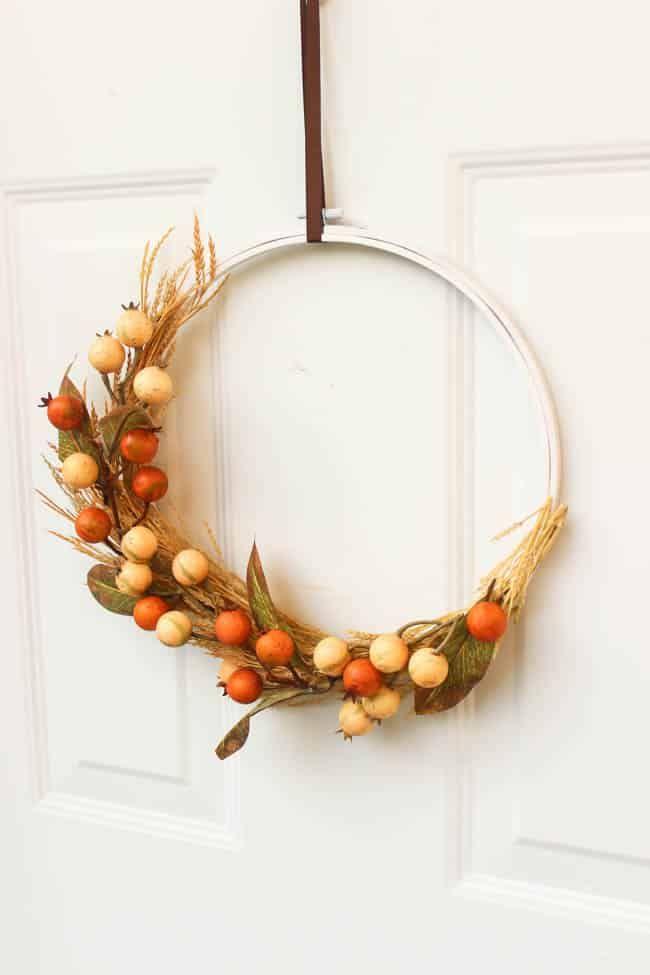 DIY Autumn Embroidery Hoop Wreath via lovecreatecelebrate