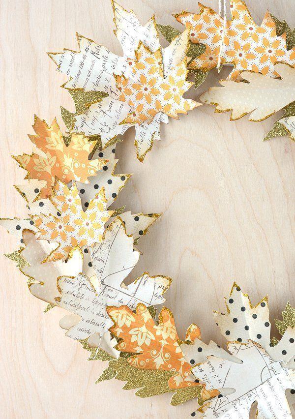 DIY Autumn Wreath with Paper Leaves via polkadotchair