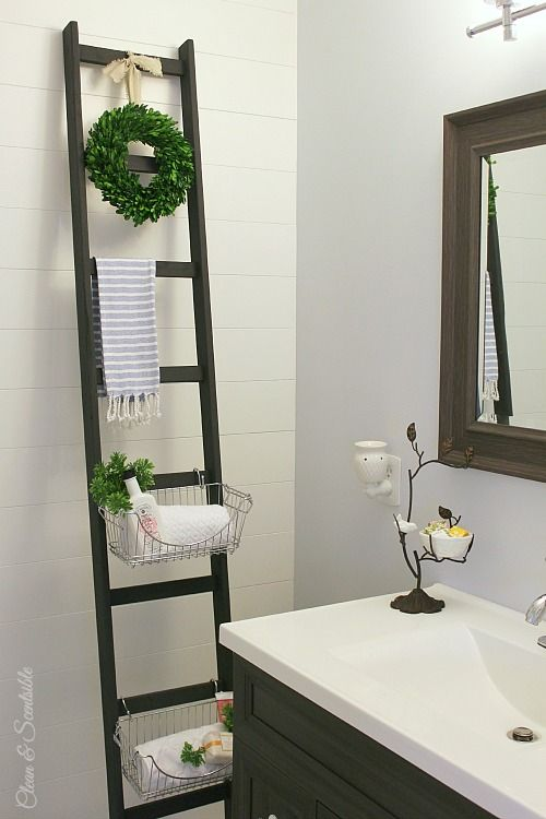 DIY Bathroom storage ladder via cleanandscentsible
