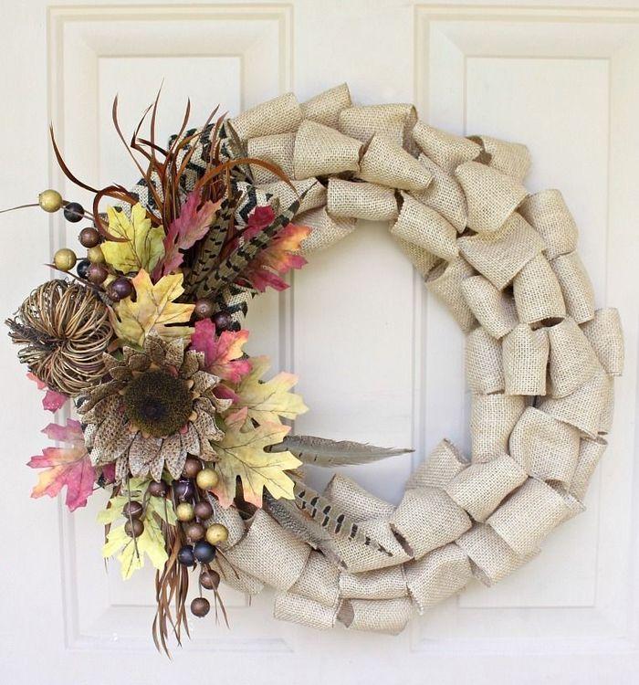 DIY Burlap Fall Wreath via loveoffamilyandhome