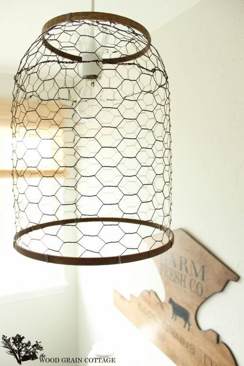 DIY Chickenwire Pendant Light via thewoodgraincottage