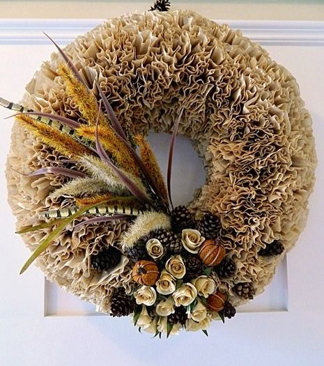 DIY Fall Coffee Filter Wreath via recapturedcharm