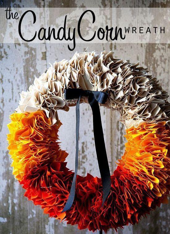 DIY Fall Colors Candy Corn Wreath via whipperberry