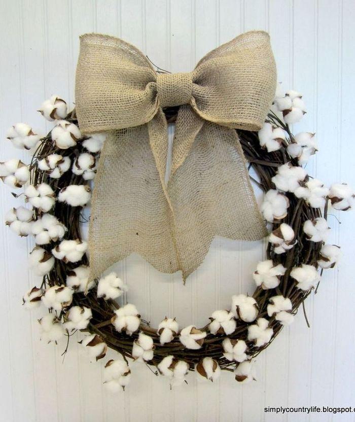 DIY Fall Cottonball Wreath via simplycountrylife