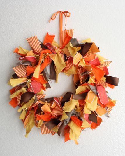 DIY Fall Fabric Scraps Wreath via abeautifulmess
