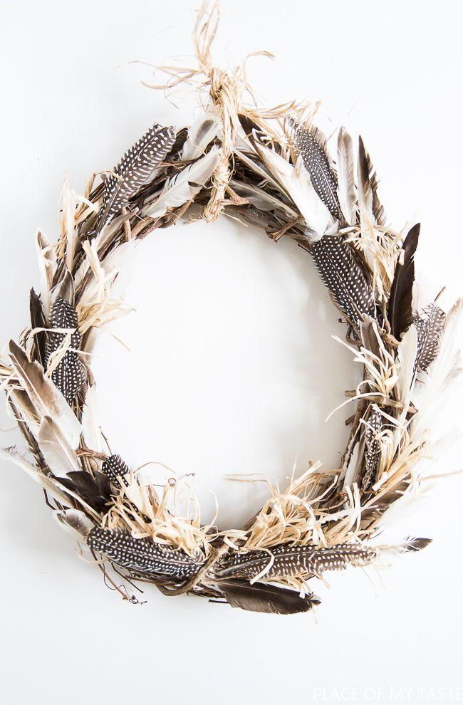 DIY Fall Feather Wreath via placeofmytaste