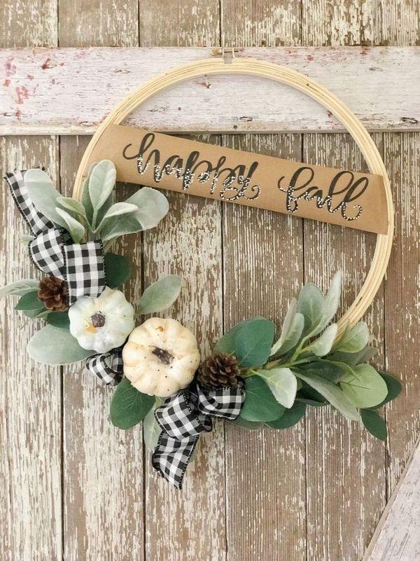 DIY Fall Hoop Wreath via thepickledrose
