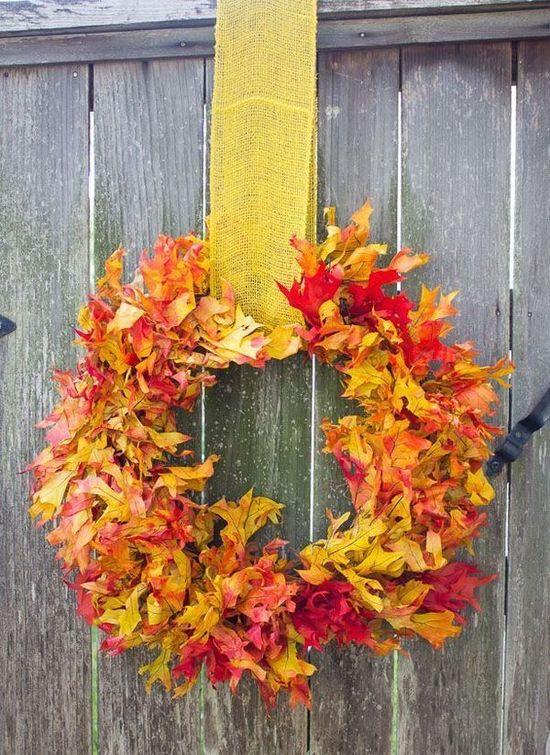 DIY Fall Leaf Wreath via designimprovised