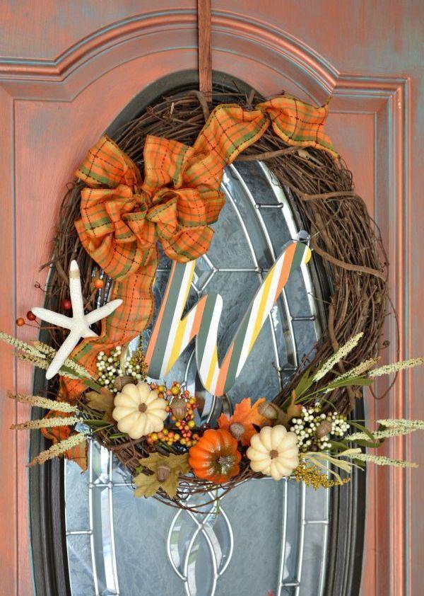 DIY Fall Monogram Wreath via h2obungalow