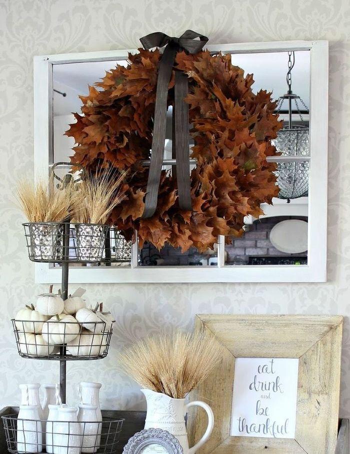 DIY Fall Oak Leaf Wreath via hymnsandverses