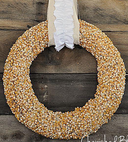 DIY Fall Popcorn Wreath via cherishedbliss