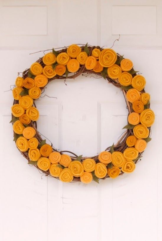 DIY Fall Rosette Wreath via deliacreates