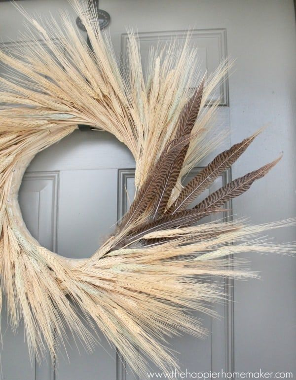 DIY Fall Wheat Wreath via thehappierhomemaker