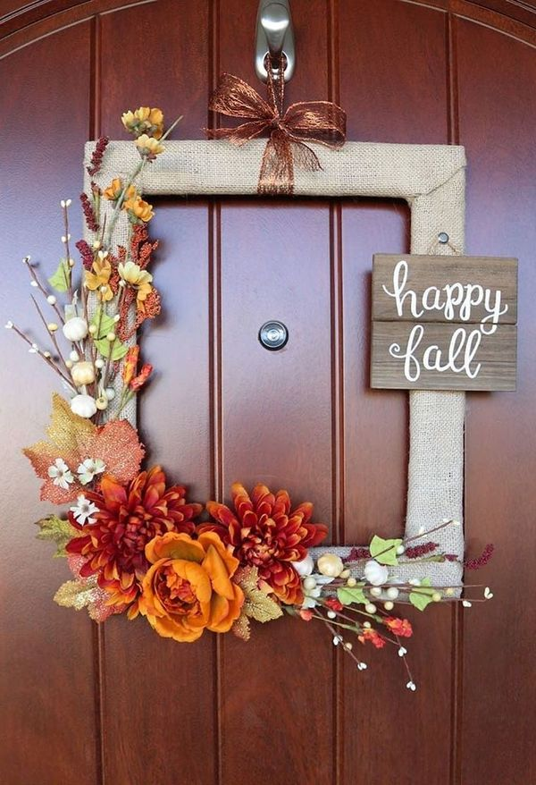 DIY Fall Wreath from picture frame via aubreeoriginals