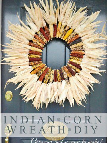 DIY Fall Wreath using Indian corn via stonegableblog