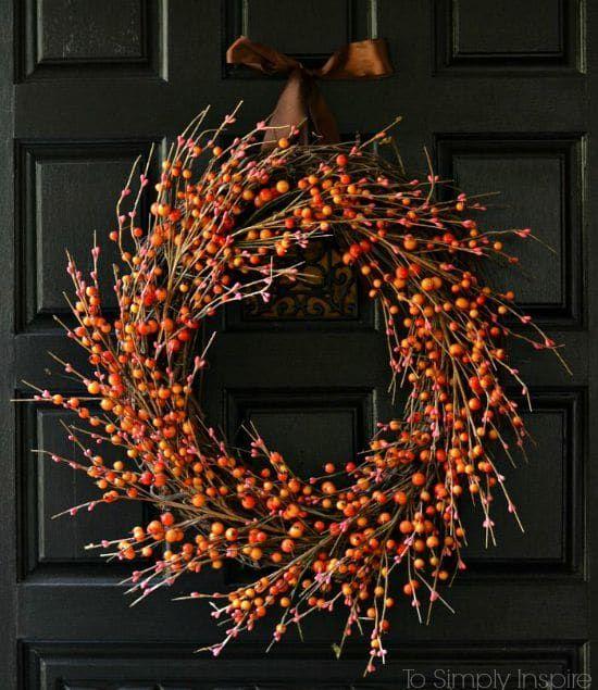 DIY Fall Wreath using berries via tosimplyinspire