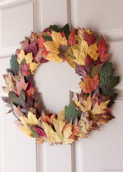 DIY Fall Wreath using leaves via brendid