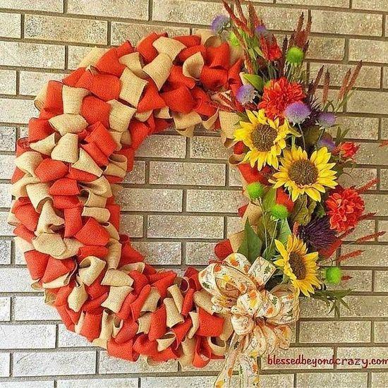 DIY Fall burlap wreath via blessedbeyondcrazy