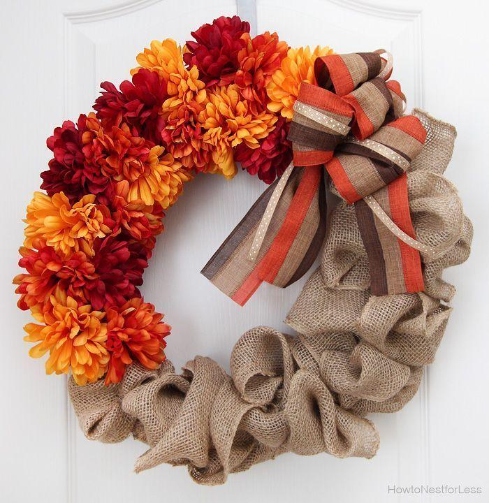 DIY Fall flower and burlap wreath via howtonestforless