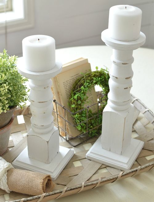 DIY Farmhouse Candlesticks via sarahjoyblog