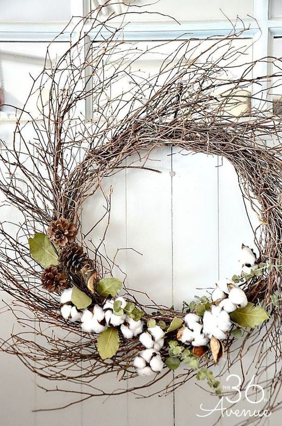 DIY Farmhouse Fall Wreath using twigs and cotton via the36thavenue