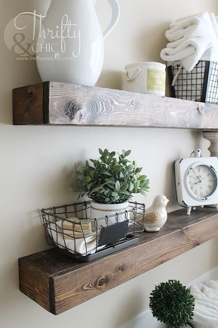DIY Farmhouse Floating Shelves via thriftyandchic
